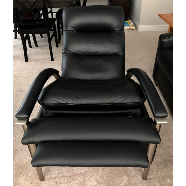 2010s Ethan Allen Genuine Black Leather Radius Recliner For Sale - Image 5 of 7