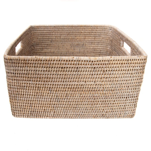 Boho Chic Artifacts Rattan Square Storage Basket For Sale - Image 3 of 4