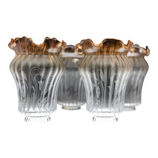 Vintage Vianne Blown Glass Etched Lamp Shades - Set of 4
