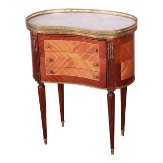 Louis XVI Kidney Shape Marble Top Side Table or Nightstand by Soriano España For Sale