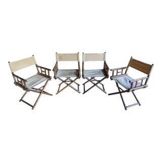 McGuire Style Faux Bamboo Folding Directors Chairs, Set of 4 For Sale
