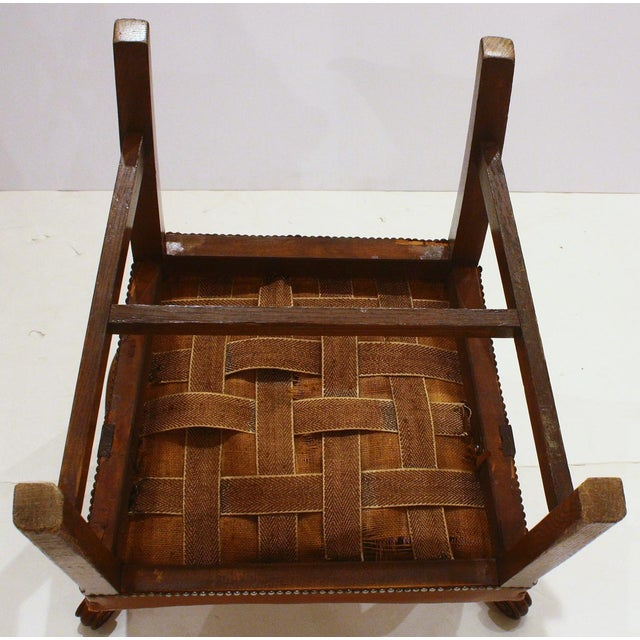 Early 19th Century English Host Chair / Ladderback Arm-Chair With British Tan Saddle Leather Seat For Sale - Image 5 of 6