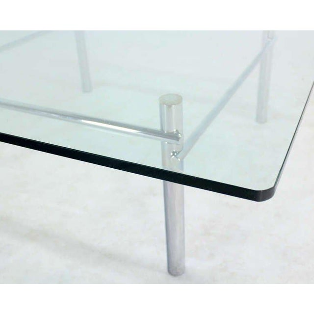 Chrome Solid Chrome Base with Heavy Steel Bars and Square Glass-Top Coffee Table For Sale - Image 7 of 10