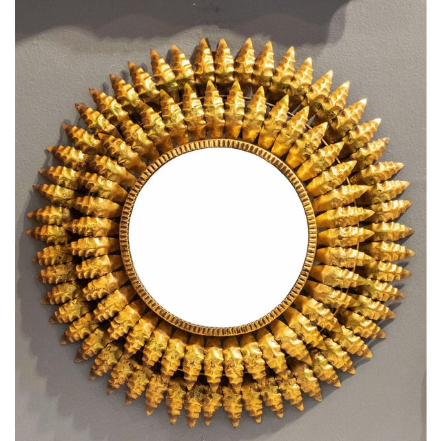 French Gilt Metal Sunburst Mirror For Sale In Austin - Image 6 of 13