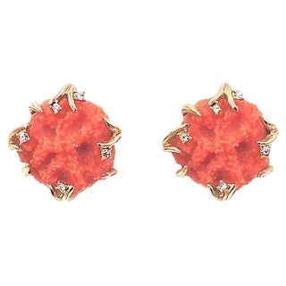 1970s Boucher Faux-Coral Earrings For Sale