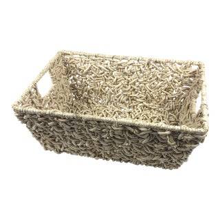 Artisan Interwoven Tray Basket For Sale