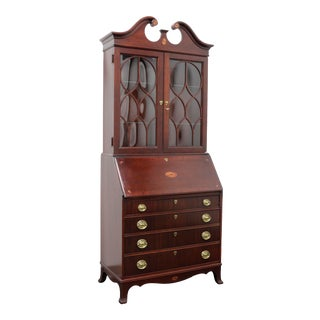 Traditional Georgian Style Mahogany Secretary Desk by Jasper Cabinet Co For Sale