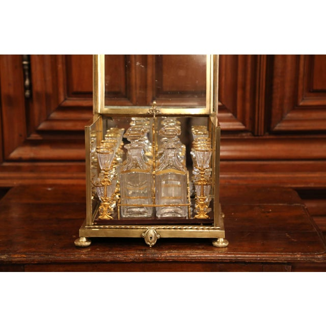 19th Century French Napoleon III Gilt Bronze and Glass Complete Cave a Liqueur For Sale - Image 9 of 11