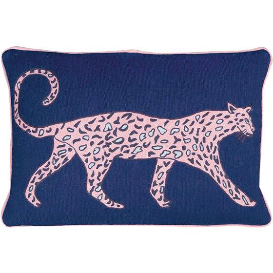 Luke Edward Hall for the Rug Company Leopard Cobalt Cushion For Sale