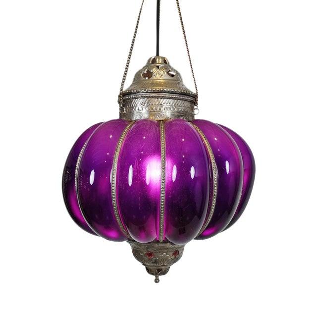 Mid 20th Century Vintage Purple Pumpkin Lantern For Sale - Image 5 of 5