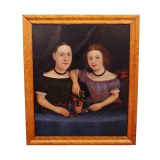 "Mid 19th Century American Folk Art ""The Bakemeier Girls"" Portrait Painting"
