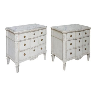 Swedish Breakfront Neoclassical Style Commodes - a Pair For Sale