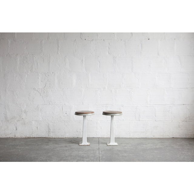 White Industrial Stools - a Pair For Sale - Image 4 of 5