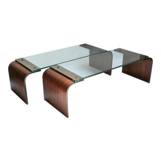 Custom Rectangular Rosewood and Glass Coffee Table For Sale