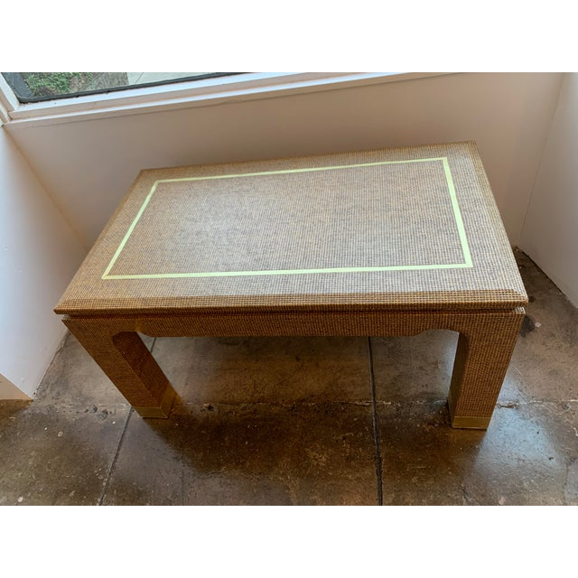Art Deco 1970's Raffia Covered Side Table With Brass For Sale - Image 3 of 10