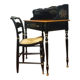Ethan Allen Hitchcock Traditional Black Lacquer Stenciled Writing Desk & Rush Chair Set For Sale