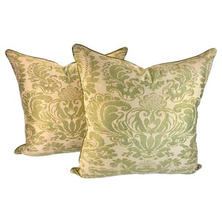 Fortuny Corone Pillows Green - A Pair For Sale