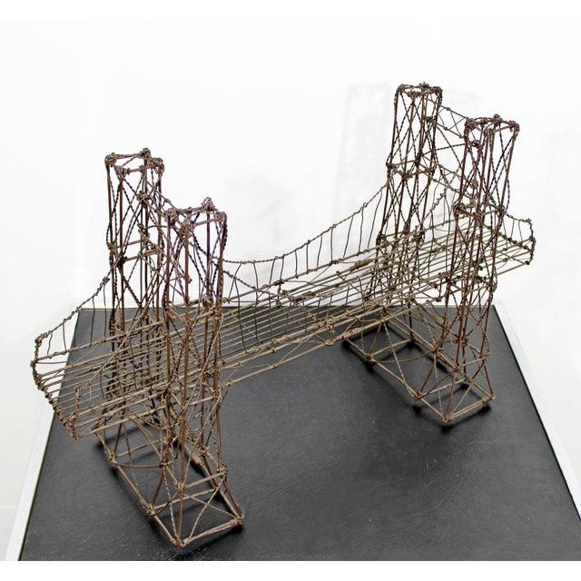Mid Century Modern Vintage Brutalist Wire Bridge Table Sclupture For Sale In Detroit - Image 6 of 10