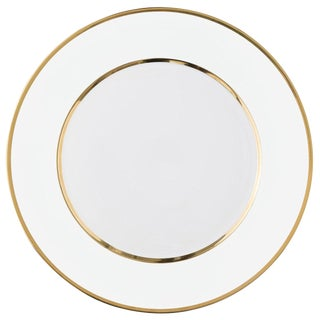 """Schubert"" Charger in White & Narrow Gold Rim For Sale"