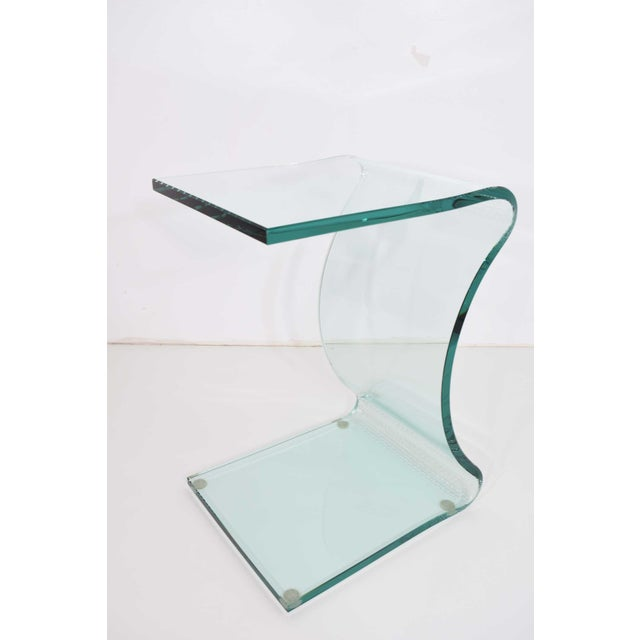 L. Fife Signed Glass Side Table For Sale - Image 4 of 12