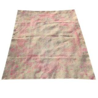 Vintage Turkish Oushak Pink Worn Rug - 4′7″ × 6′8″