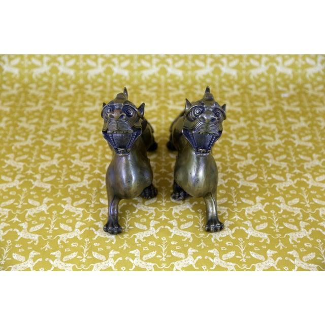 Vintage Brass Foo Dogs - A Pair - Image 6 of 9