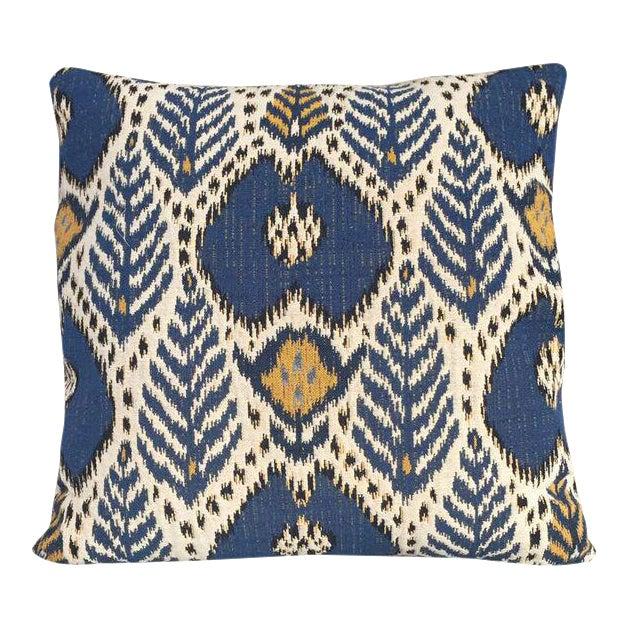 Kim Salmela Woven Blue Ikat Pillow For Sale