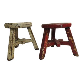 Pair of Small Asian Yellow and Red Lacquered Round Artisanal Stools. For Sale