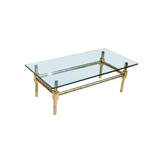 1970s Vintage Brass Faux Bamboo Chinese Chippendale Coffee Table For Sale