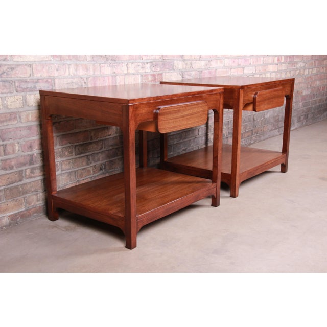 Drexel Edward Wormley for Drexel Precedent Mid-Century Modern Nightstands or End Tables, Newly Refinished For Sale - Image 4 of 13