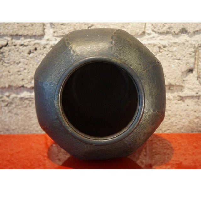 1930s Japanese Hand Hammered Copper Vase For Sale - Image 4 of 6