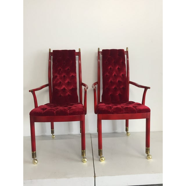 1970s Red Tufted Velvet Mid-Century Modern Chairs - A Pair For Sale - Image 5 of 5