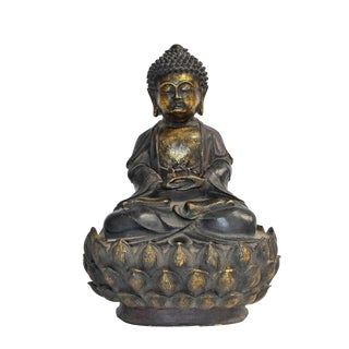 Antique Bronze Buddha on Lotus Throne For Sale