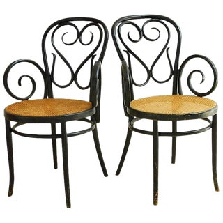 Pair of Thonet Cafe Daum Style Bentwood Armchairs For Sale