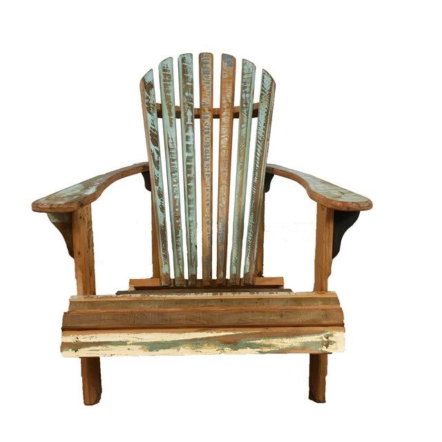 Indoor/Outddor Coastal Chair Distressed Reclaimed Wood For Sale - Image 4 of 4