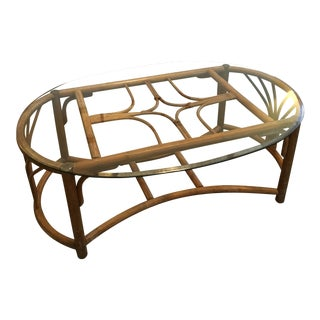 1960's Boho Chic Rattan Wood & Glass Top Coffee Table