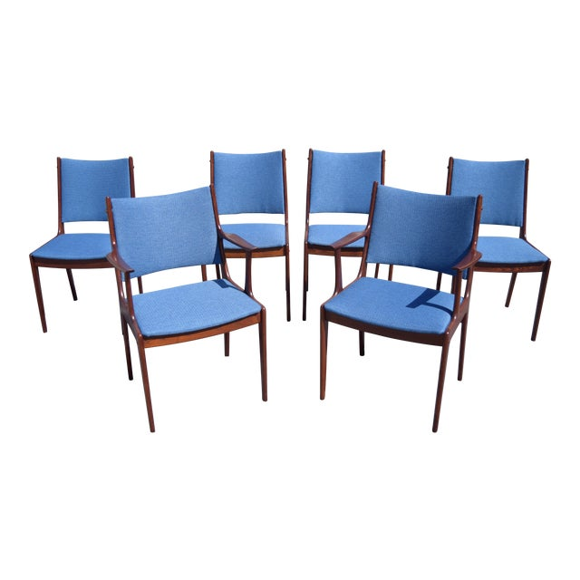 Johannes Andersen Danish Modern Rosewood Dining Chairs - Set of 6 - Image 1 of 9