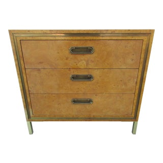 Vintage Mastercraft Burl Wood and Brass Bachelor Chest For Sale