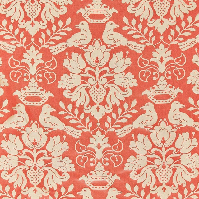 Transitional Scalamandre Love Bird Fabric, Melon & Bronze Sample For Sale - Image 3 of 3