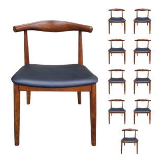 Mid C Wooden Open Back Chairs in the Style of Hans Wegner- Set of 10 For Sale