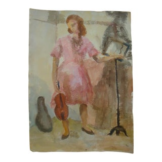 Mid-Century Modern Abstract Painting Woman and Violin Watercolor Portrait For Sale