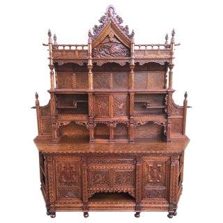 Antique Japanesse Hand Carved Elmwood Cabinet, Sideboard, Meiji, 20th Century For Sale