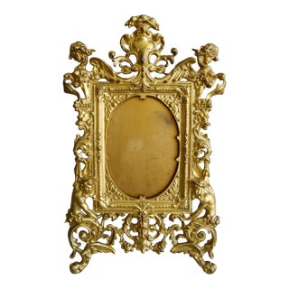 19th Century Antique Victorian Gilt Bronze Picture Frame For Sale