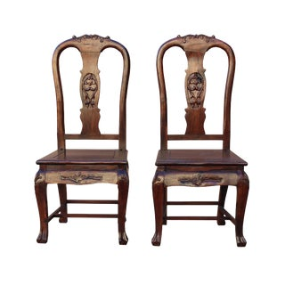 Pair Handmade Chinese Old Shanghai Design Solid Red Wood SuanZhiMu Rosewood Chair wk2601 For Sale