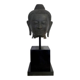Large Bronze Buddha Head with Stand Thailand For Sale