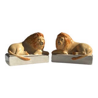 Porcelain Stanford Shire Male Lion Figurines- a Pair For Sale