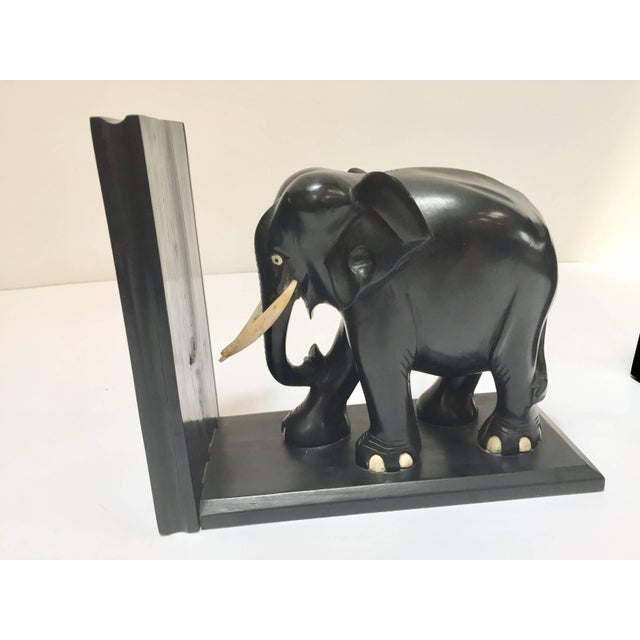 Hand-Carved Large Ebonized African Elephant Bookends, Circa 1950 For Sale - Image 12 of 13