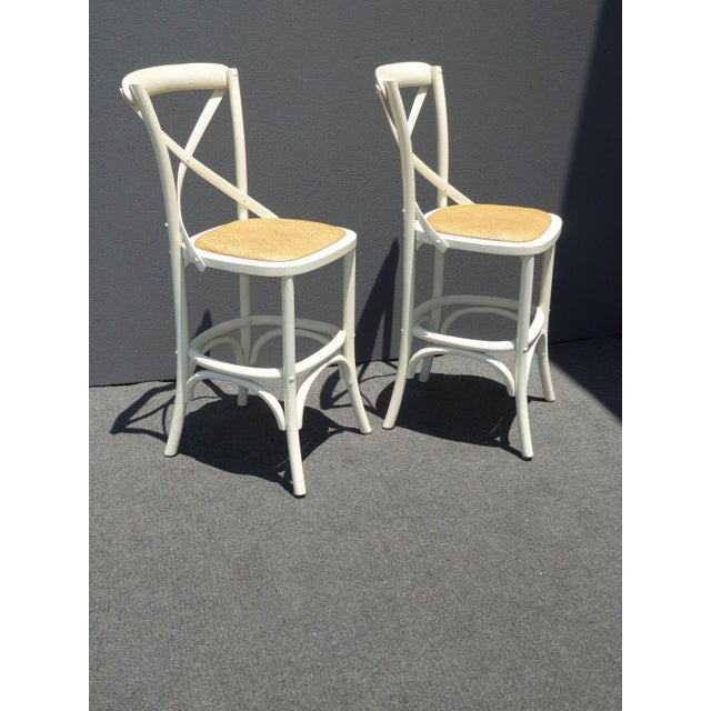 Vintage French Country White Rye Seat Bar Stools - A Pair For Sale - Image 4 of 11