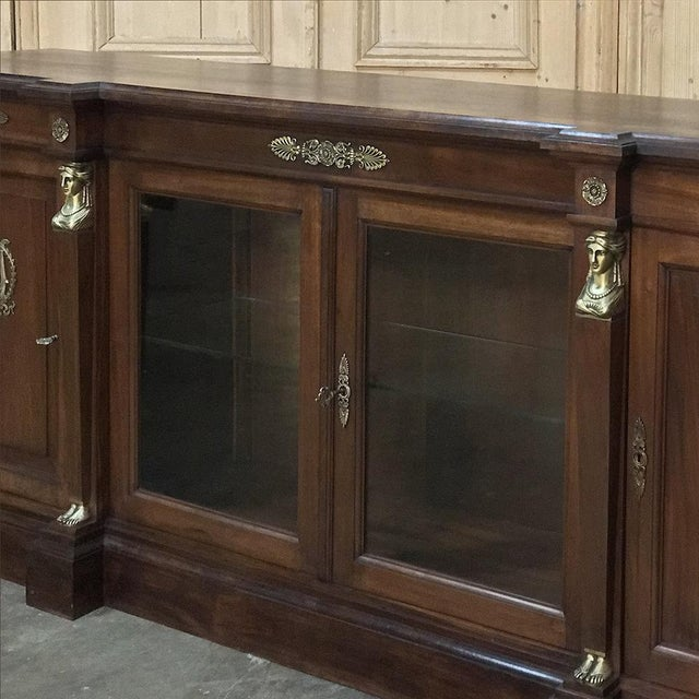 Gold 19th Century French Empire Mahogany Credenza With Bronze Ormolu For Sale - Image 8 of 12