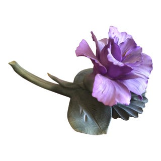 Vintage Capodimonte Flower in Purple For Sale